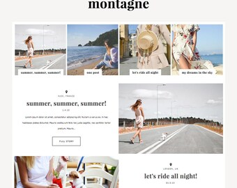 "Blogger Template ""Montagne"" // Responsive Premade Photography Blog Theme Design Instant Digital Download"