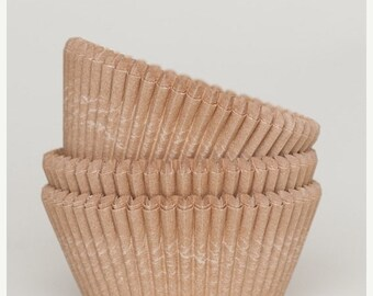 TAX SEASON Stock up 50 Pc Pretty Unbleached Natural Kraft Cupcake Liners 2X1.25 Inch Size Perfect for Parties
