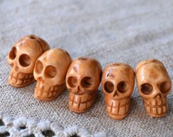 15pcs Skull Beads Antiqued Bone Graduated 11x6mm-24x15mm Skulls