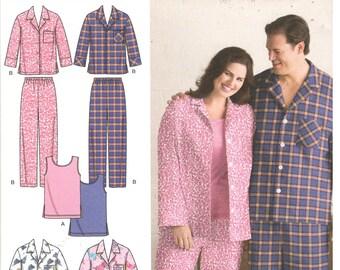 Simplicity 3971 Size XL, XXL, XXXL Women's and men's plus size sewing pattern: pajama pants, knit tank top, long or short sleeve pajama top