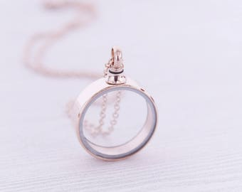 Rose Gold Stainless Memorial Glass Locket Pendant - Cremation Jewelry - Ash Necklace - Urn Necklace - Pet Loss - Vial Necklace Vial for Hair