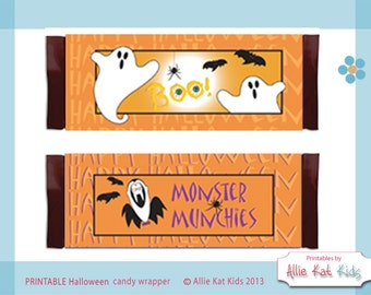 Halloween Candy Bar Wraps Ghost Boo Dracula Bats PRINTABLE Candy Bar Wraps