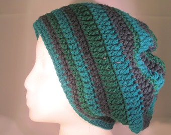 shamrock green, teal and dark forest green striped slouchy