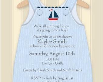 Baby Boy Overalls Celebration Party Invitation, New Baby Shower Invitation, Birthday Announcement, Digital Invitation, IV1419