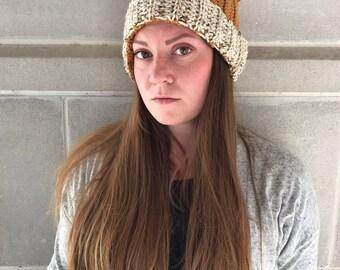 Crocheted Cat Ear Hat - Cat Hat - Cat Ear Beanie - Double Brim Cat Hat - Cat Lady - Women's Accessories - Mustard