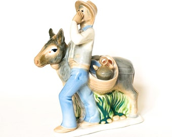 Vintage Donkey and Man Selling Wares
