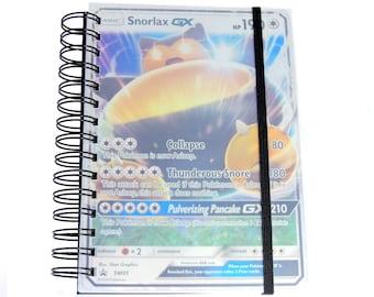 Pokemon A5 Notebook - Fathers Day - Pokemon Gift - Snorlax - Pokemon Stationery - Upcycled Pokemon Cards