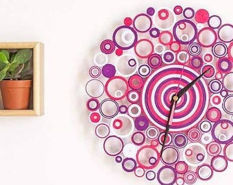 "Paper Clock ""Strawberry Cream & Raspberry""-Strawberry and raspberry paper clock"