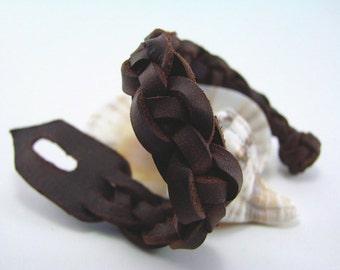 Men's Celtic Still Waters Spanish Leather Cuff  -  Wristband  - Bracelet