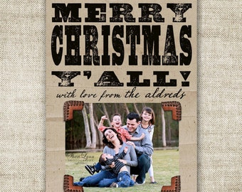 Western Typography Poster Merry Christmas Y'all Christmas Family Picture Customizable Printable Digital HOLIDAY Greeting - 86753500