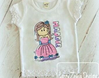 Princess 2 Sketch Embroidery Design - princess Sketch Embroidery Design - girl Sketch Embroidery Design