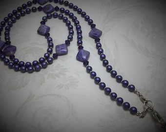 Purple Charoite and Faux Pearl Necklace Lanyard