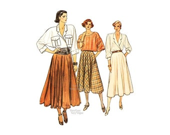 80s Flared Skirt Pattern, Very Easy Vogue 9160, Sizes 8 10 12, Three Lengths, Pockets, Vintage Easy Sewing Pattern