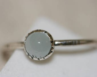 Winzige Aquamarin Stapeln Ring, 925 Sterling Silberring, Handmade Sterling Silberring, Aquamarin Ring,
