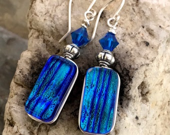 Dichroic Earrings 'Turquoise Blue' Glass Wire-Wrapped with Sterling Hooks