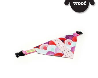GOOOD Dog Collar (Small Sz)   Center Scarf - Sea Scallops Sweetness   100% Pink & Purple Fabric