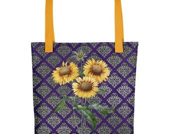 "Sunflower Botanical on Indigo Damask Print 15""x15"" Market Tote bag Carryall"
