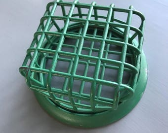 Vintage Green Metal Cage Flower Frog, Vogue Holder No. 72, Flower Arranger Holder, Made in USA, Farmhouse Decor, Rustic Decor