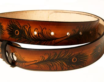 Peacock Feather Leather Belt
