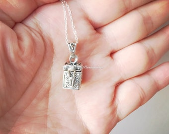 Prayer Box with Ichthys & Cross Necklace - Solid 925 Sterling Silver Chest Locket Charm Pendant - Insurance Included