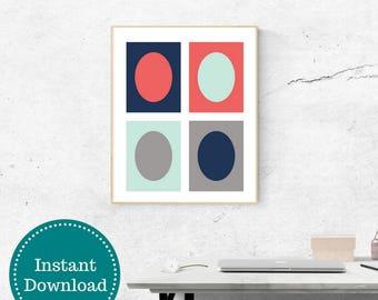 Modern Art Printable Wall Art Navy Coral Aqua Gray