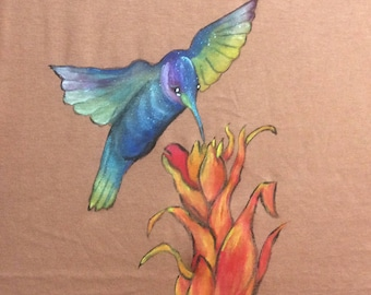 """Colibricolette"" t-shirt three quarter sleeves, size M"