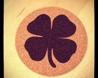 Four Leaf Clover Cork Coasters - Set of 4
