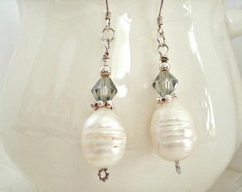 Pearl and Crystal Earrings in Sterling Silver. Green Drop Earrings, Pearl jewelry,  CLEARANCE SALE
