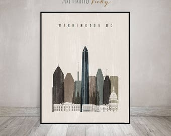 Washington skyline, Washington DC print, poster, Wall art, Travel decor, City prints, distressed art, Gift, Home Decor, ArtPrintsVicky