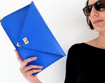 Blue Leather clutch / Ocean Blue leather bag / Blue leather purse / Blue evening bag / Envelope clutch / Summer clutch