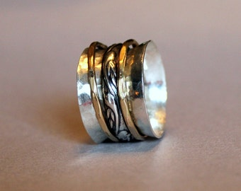 silver and gold spinner ring - mixed metal worry ring - mixed metal spinner ring - silver spinner ring - wide band ring - meditation ring