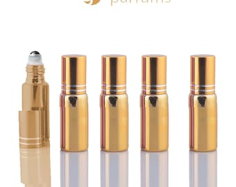 5 UPSCALE GOLD 5ml Glass Essential Oil Glass Roll On Bottles Stainless Steel Roller (1/3 Oz) Fabulous Metallic Colors UV Coating   5 ml