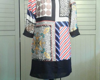 Mod Poly Silk Colorful Grifflin Paris Dress Hip Shift Three Quarter 3/4 Sleeves Bold Pattern Modern Butterfly  Women's Size Medium M
