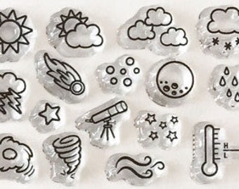 planner stamps, weather stamps, planner stamp sets,  bullet journal stamps, icon stamps, celestial stamps, clear planner stamps
