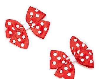 Set of 2 Red & White Polka Dot Boutique Hair Bows