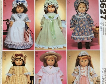 18 Inch Doll Clothes Pattern,American Doll Clothes Pattern,Historical Doll,Storybook Costume,McCalls 3627,Bonnets,Doll Pinafore,Long Dress