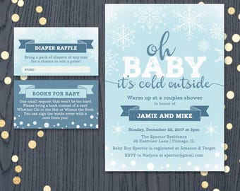 Winter baby shower invitation onederland snowflake christmas couples shower invite oh baby it's cold outside, blue or pink printable DIGITAL