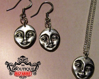 Hand Sculpted face, human head, mask Fine Silver, .999 Pure Silver Necklace and Earrings, PMC, Precious Metal Clay Jewelry, Hypoallergenic