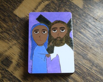 """2.5"""" X 3.5"""" Jesus Meets his Mother Mary Byzantine Folk style icon on wood by DL Sayles"""