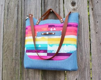 Chic Modern Denim and Cotton Leather Straps Hanfbag, Shoulder Bag