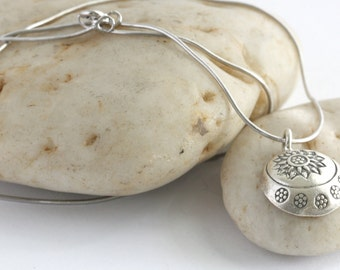 """Sterling and Hill Tribe Silver Stamped Flower Charm 18"""" Necklace// luluglitterbug"""