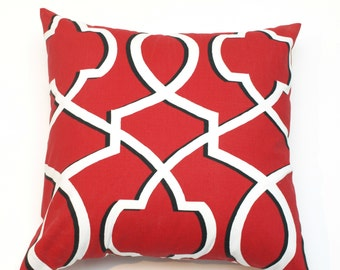 SALE Decorative Throw Pillow Cover Red with Black Imperial Trellis   - 10 Cushion Cover Sizes Available including 18 x 18 and 20 x 20
