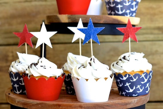 Glitter Star Cupcake Picks in patriotic red, white and blue in sets of 12 or 50 cupcake toppers