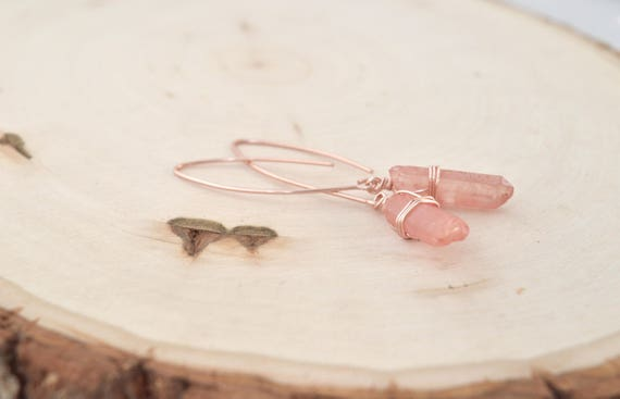 Rainbow Quartz Marquis Hoop Earrings in Gold, Silver, or Rose Gold