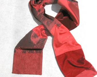 Patchwork Scarf, One Wrap, Dressy Scarf, Red Silk and Velvet, Scarf For Him, Evening Scarf, Pieced Scarf, Elegant Scarf, Luxury Scarf ,OOAK