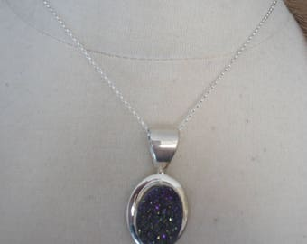 "Vintage DTR Jay King Desert Rose Trading Purple Druzy and Sterling Silver Pendant on 16"" Sterling Rolo Chain"