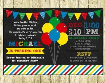 Balloon Theme Digital Chalkboard Birthday Invitations