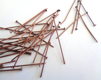 Head pins, copper head pins, copper pins, 40mm copper head pins, copper, jewelry supplies, loose beads, 150pc