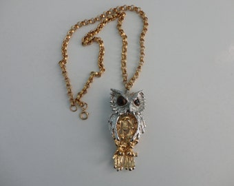 VINTAGE articulated OWL pendant NECKLACE
