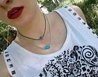 Turquoise Necklace Cross Trending Jewelry Layering Necklace Top Selling Items Tween Gift
